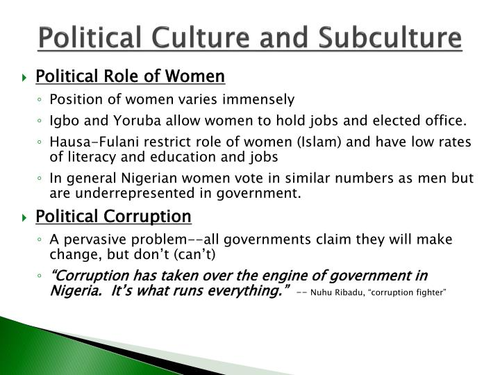 Political Culture and Subculture