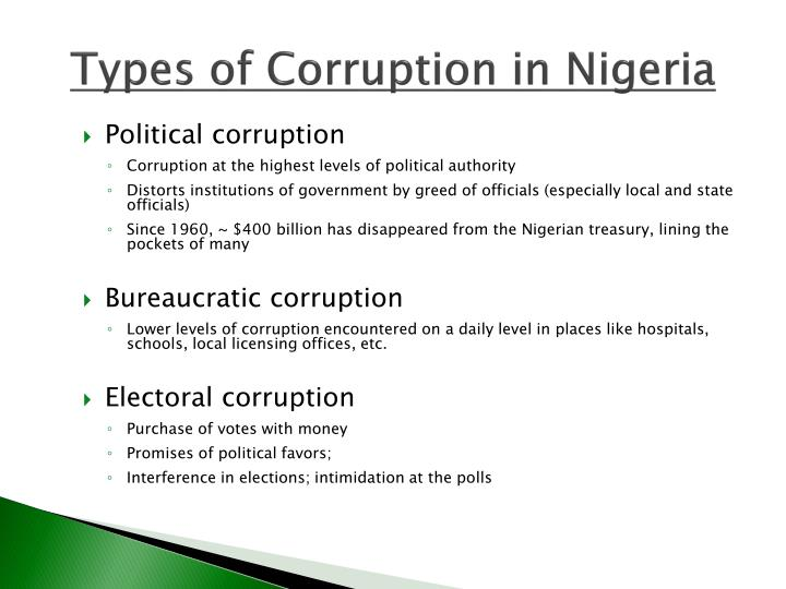 Types of Corruption in Nigeria
