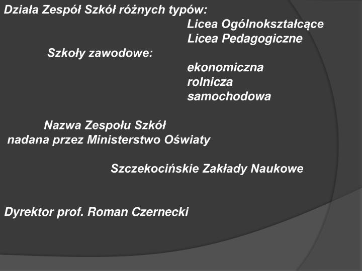 Działa Zespół Szkół różnych typów: