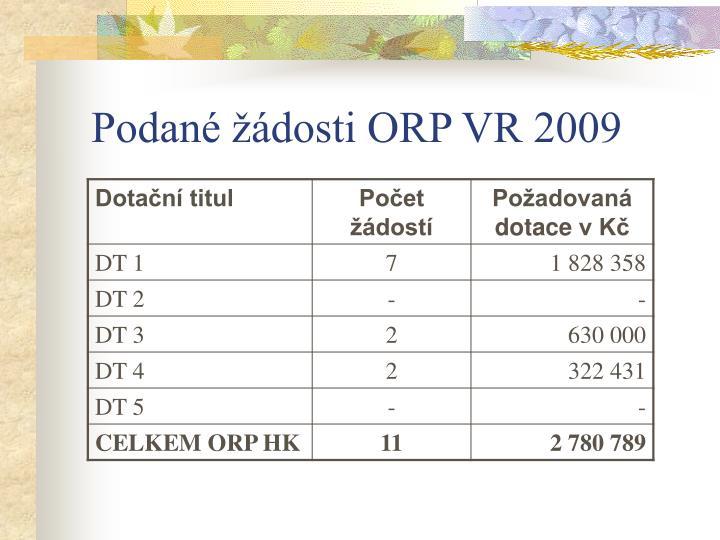 Podané žádosti ORP VR 2009