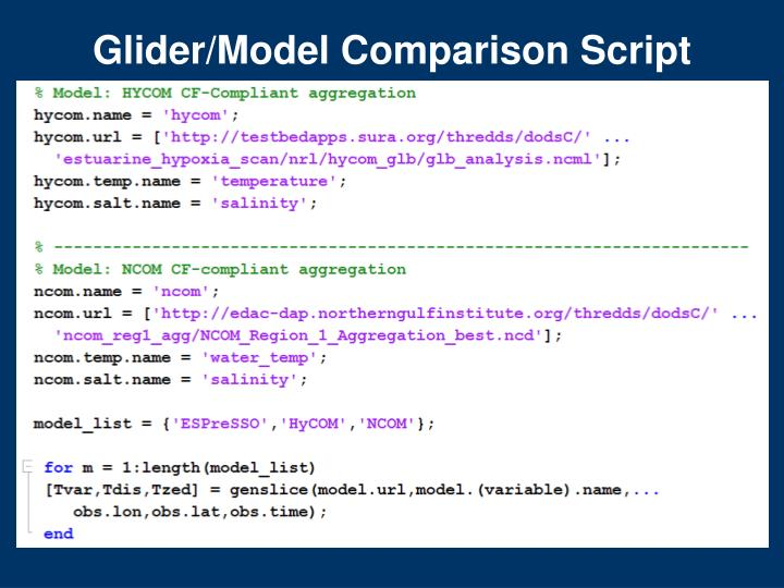 Glider/Model Comparison Script