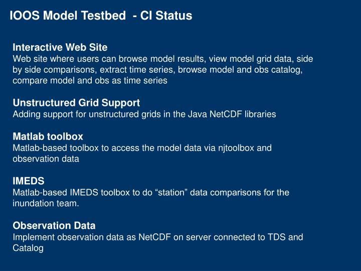 IOOS Model Testbed  - CI Status