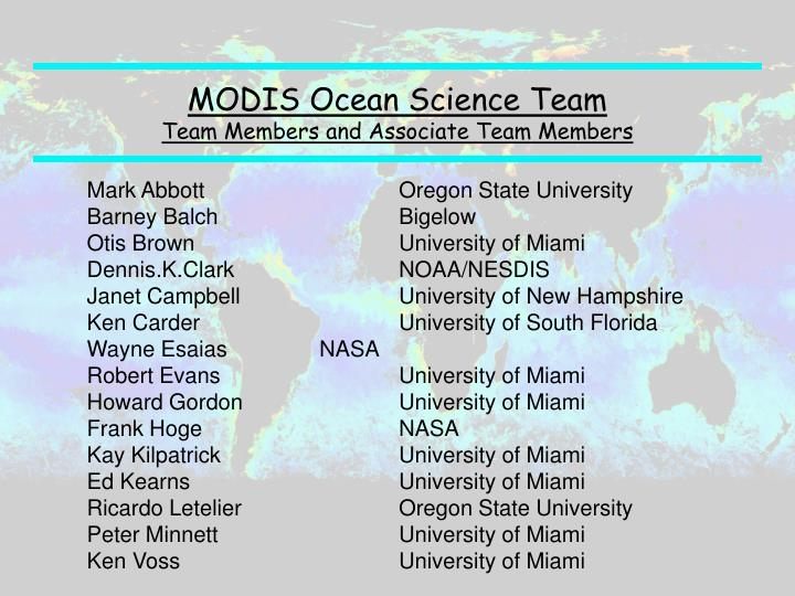 MODIS Ocean Science Team