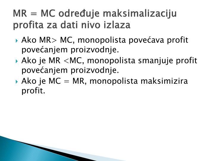 MR = MC određuje maksimalizaciju profita za dati nivo izlaza