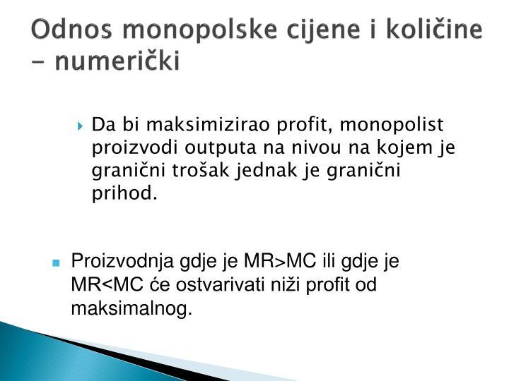 Odnos monopolske cijene i količine - numerički