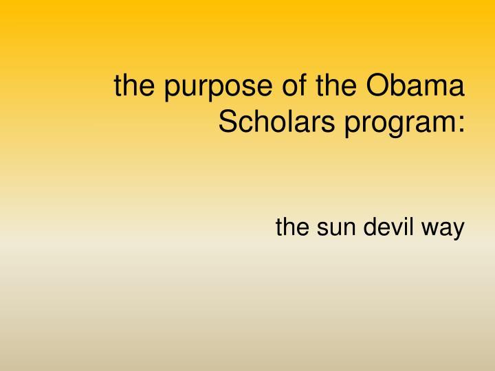 the purpose of the Obama Scholars program: