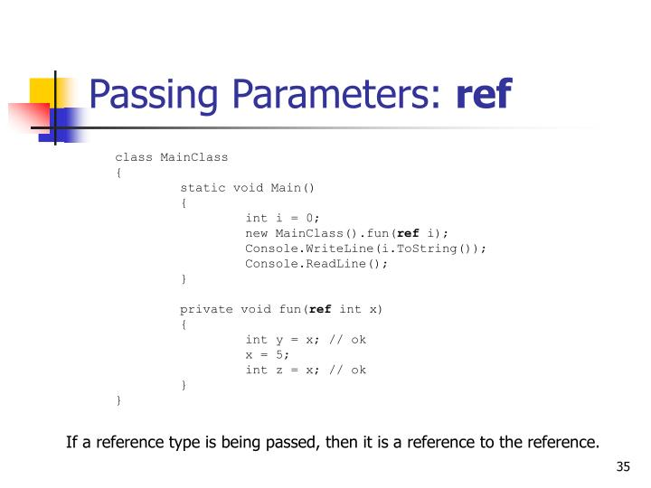 Passing Parameters: