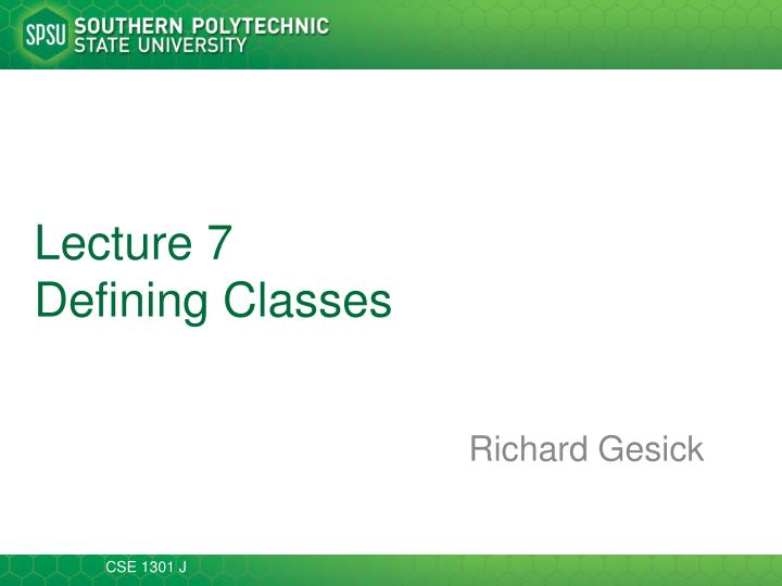 lecture 7 defining classes n.