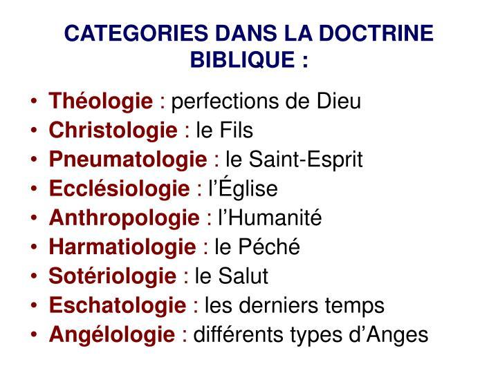 CATEGORIES DANS LA DOCTRINE BIBLIQUE :