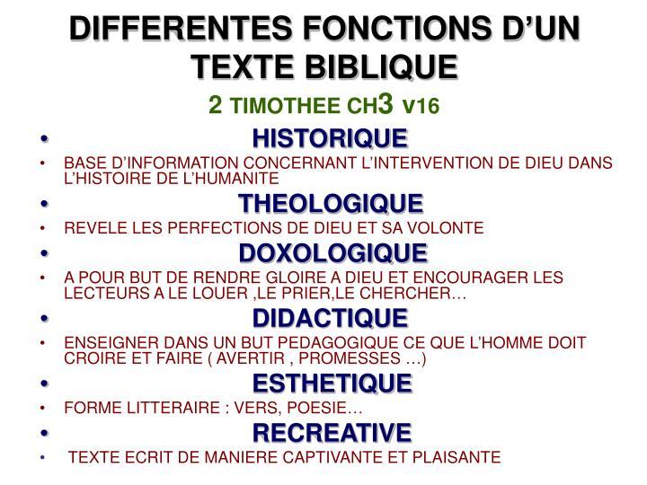 DIFFERENTES FONCTIONS D'UN TEXTE BIBLIQUE
