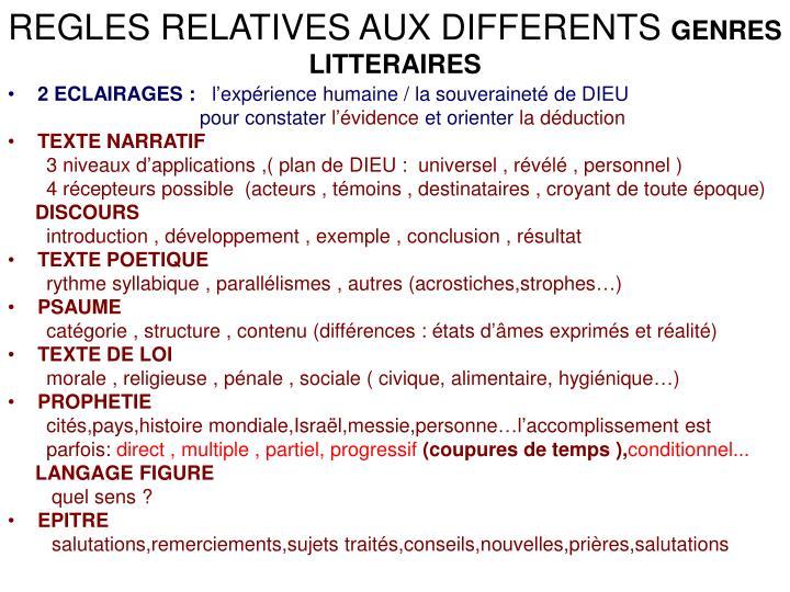 REGLES RELATIVES AUX DIFFERENTS