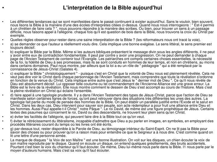 L'interprétation de la Bible aujourd'hui