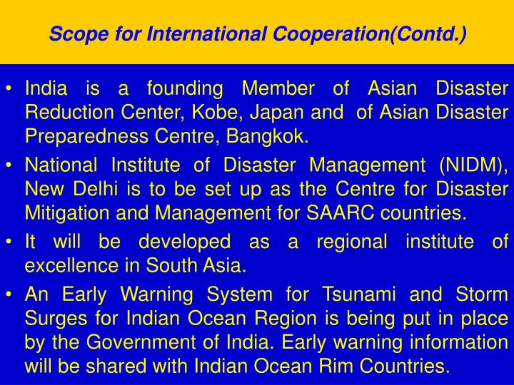 Scope for International Cooperation(Contd.)