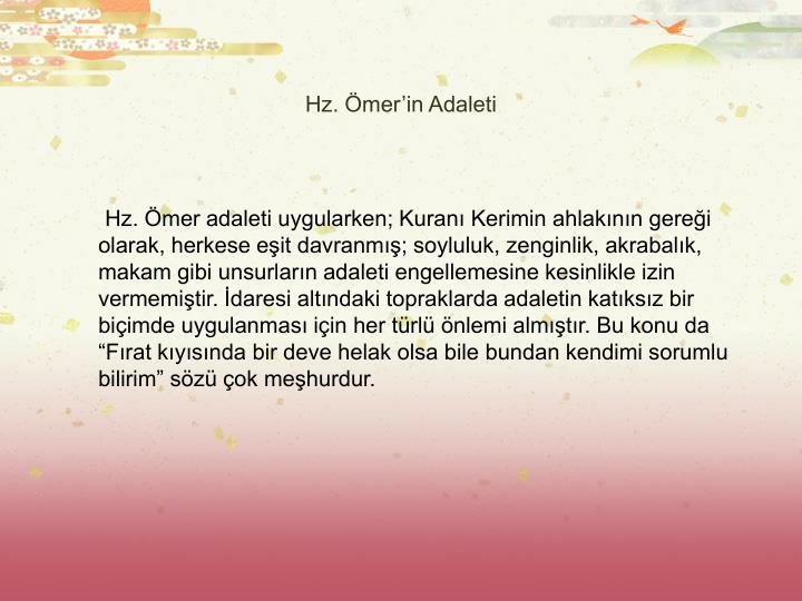 Hz. Ömer'in Adaleti