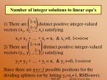 number of integer solutions to linear equ s