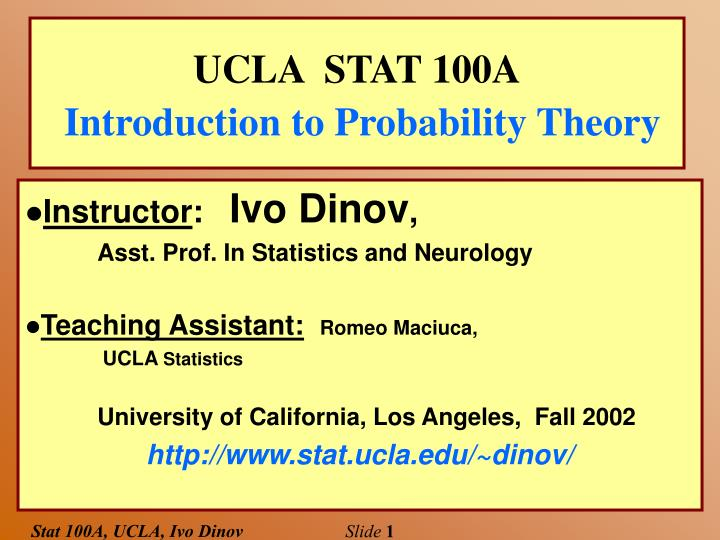 ucla stat 100a introduction to probability theory n.