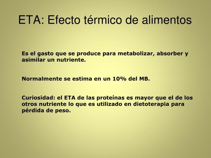 ETA: Efecto térmico de alimentos
