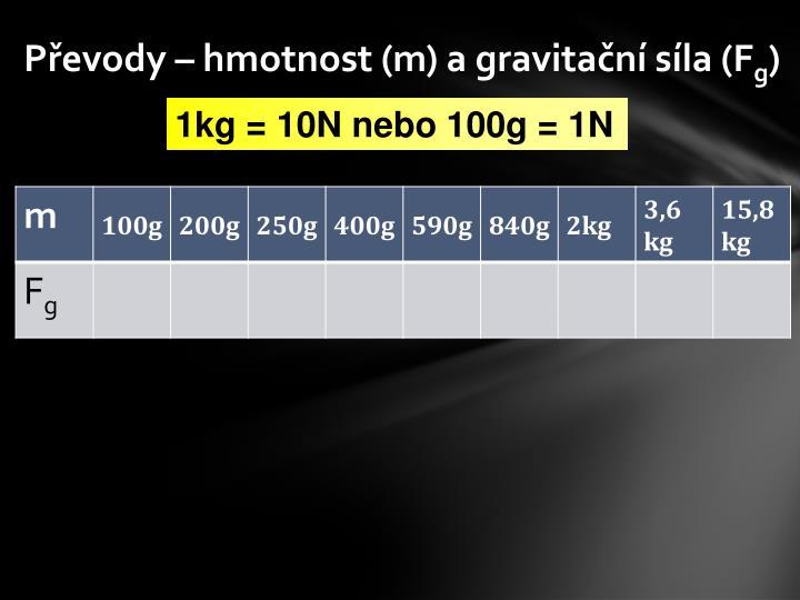 P evody hmotnost m a gravita n s la f g