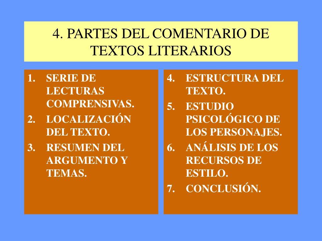 Ppt El Comentario De Texto Literario Powerpoint