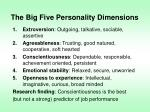 the big five personality dimensions