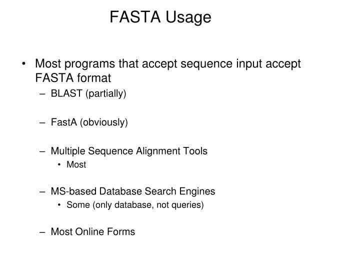 FASTA Usage