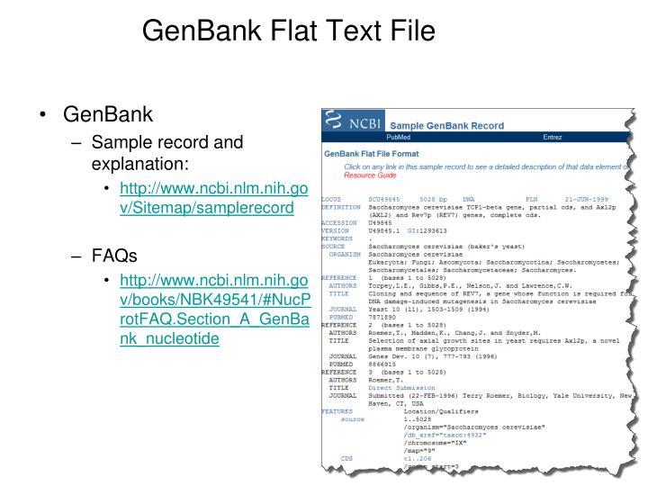 GenBank Flat Text File