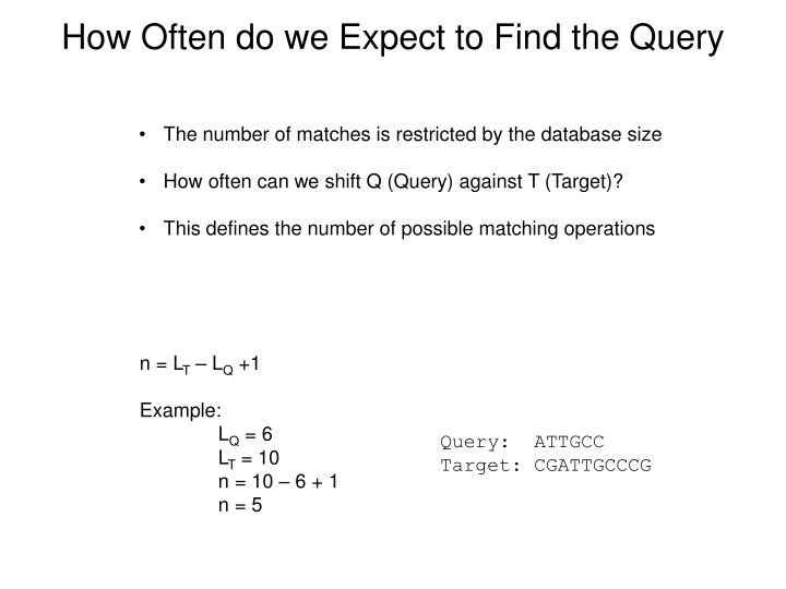 How Often do we Expect to Find the Query