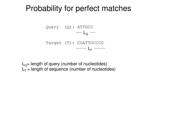 Probability for perfect matches