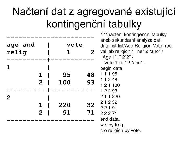 Načtení dat z agregované existující kontingenční tabulky