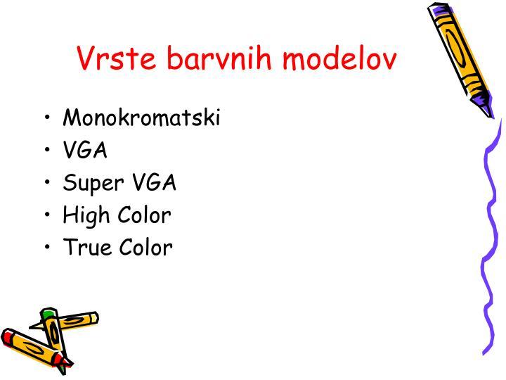 Vrste barvnih modelov