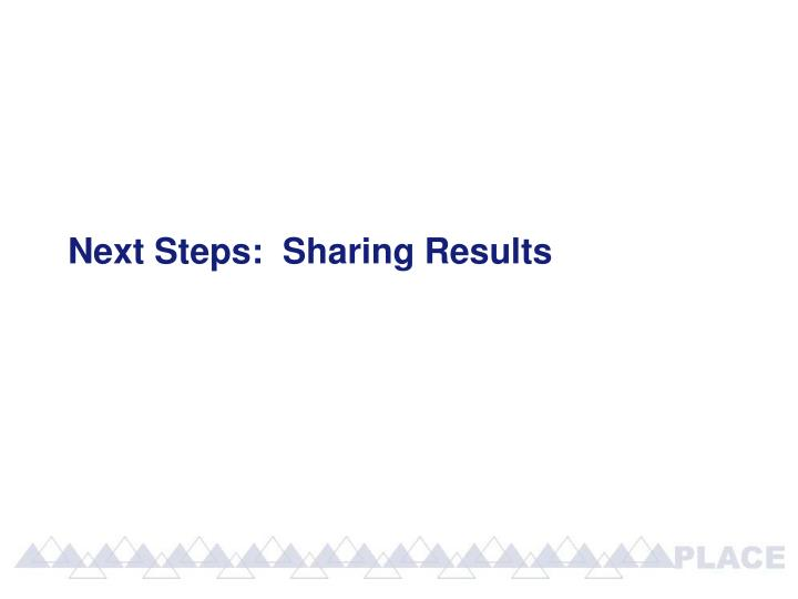 Next Steps:  Sharing Results