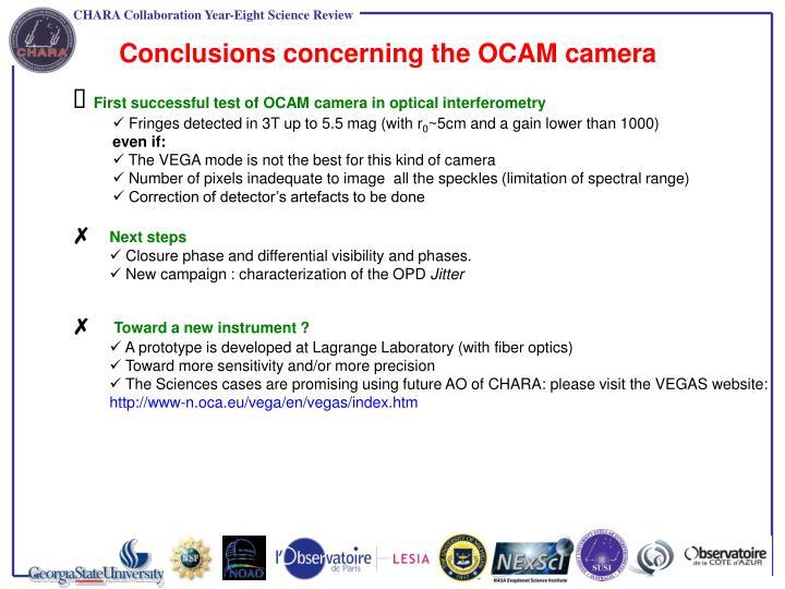 Conclusions concerning the OCAM camera