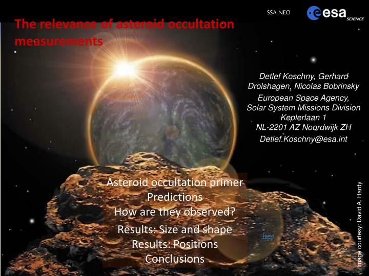 the relevance of asteroid occultation measurements n.
