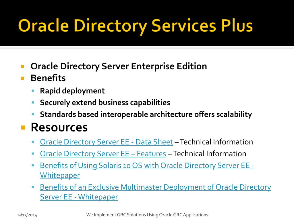 PPT - Introduction to the Oracle GRC Platform PowerPoint