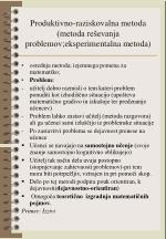 produktivno raziskovalna metoda metoda re evanja problemov eksperimentalna metoda