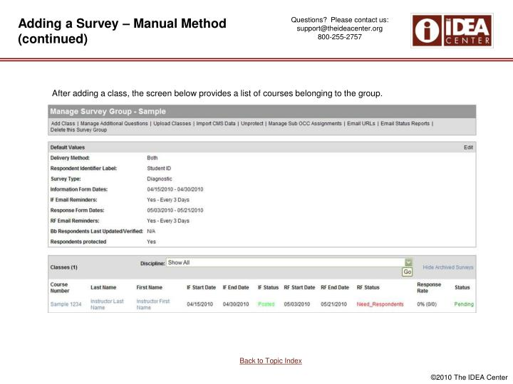 Adding a Survey – Manual Method (continued)