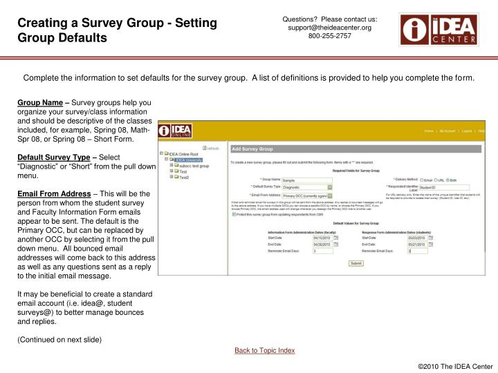 Creating a Survey Group - Setting Group Defaults
