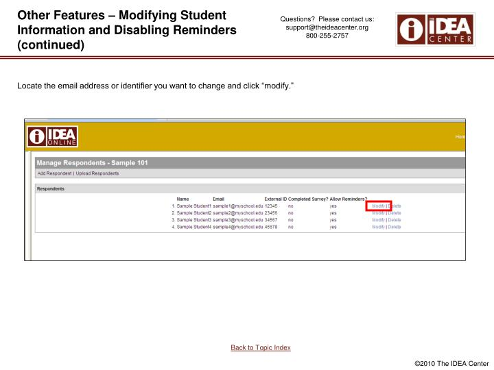 Other Features – Modifying Student Information and Disabling Reminders (continued)