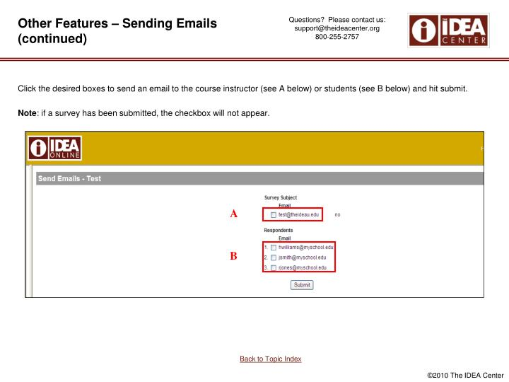 Other Features – Sending Emails (continued)