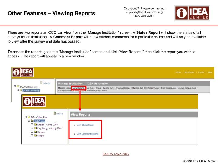 Other Features – Viewing Reports