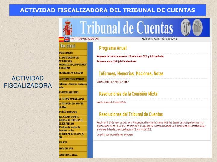 ACTIVIDAD FISCALIZADORA DEL TRIBUNAL DE CUENTAS