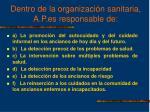 dentro de la organizaci n sanitaria a p es responsable de