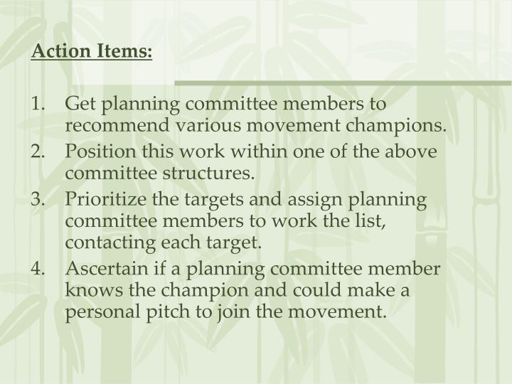 Action Items: