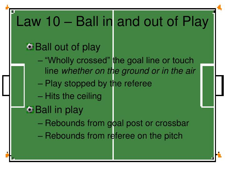 Law 10 – Ball in and out of Play