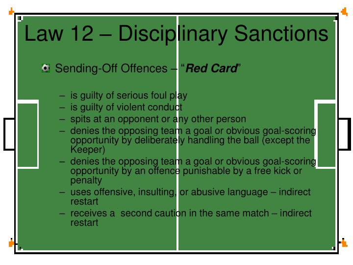 Law 12 – Disciplinary Sanctions