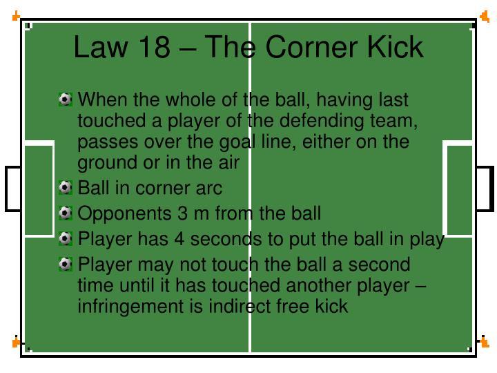 Law 18 – The Corner Kick
