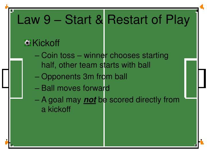 Law 9 – Start & Restart of Play