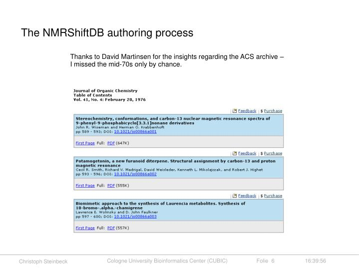 The NMRShiftDB authoring process