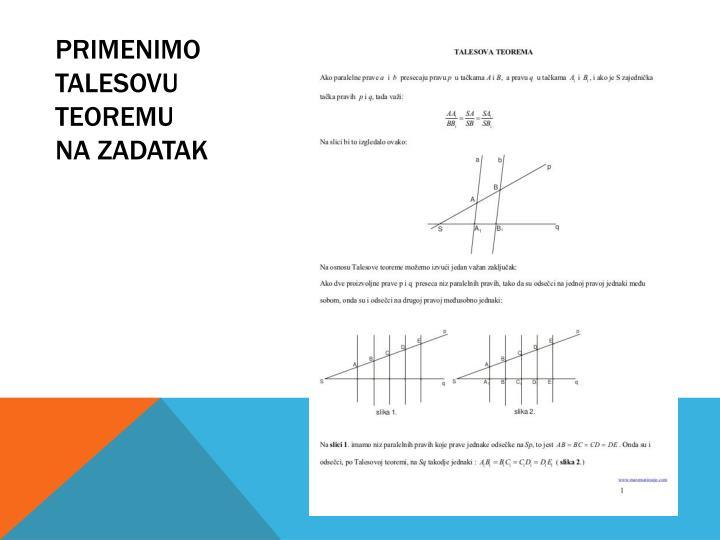 Primenimo talesovu teoremu na zadatak