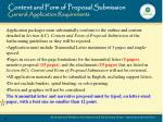 content and form of proposal submission general application requirements